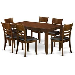 East West Furniture LYFD7-ESP-LC 7-Piece Dining Table Set, E