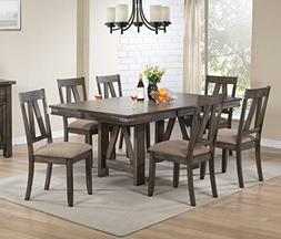 Kings Brand Furniture - 7 Piece Lynn Brown Wood Rectangle Di