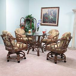 Made in USA Rattan Chiba Dining Caster Chair Table Gaming Fu
