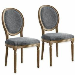 Linon Manchester Dining Chair Set of 2 Oval Back Charcoal El