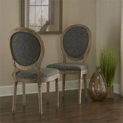 Linon Manchester Oval Back Dining Side Chair in Charcoal