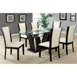247SHOPATHOME IDF-3710T-WH-7PC-SET Dining-Room-Sets, Clear