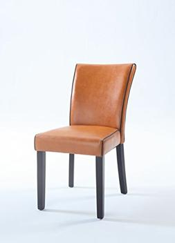 Milan Meadow Bonded Leather Parsons Chair, Set of 2, Orange