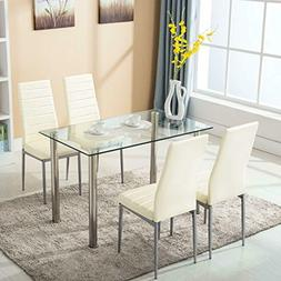mecor 5 Piece Dining Table Set Glass Top Dinette Sets with 4