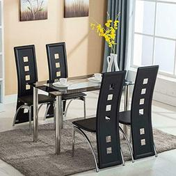 Mecor Dining Room Table Set, 5 Piece Glass Kitchen Table and