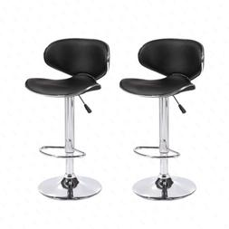 Mecor Set of 2 Adjustable Bar Stools Leather Hydraulic Swive