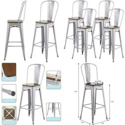 Mecor Metal Bar Stools Set Of 4 With Removable Backrest, 30'