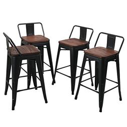 Tongli Metal Barstools Set Industrial Counter Height Stools