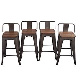 Tongli Metal Barstools Set Industrial Counter Stool  Patio D