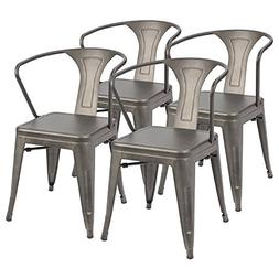 Furmax Metal Chairs with Arms Gun Metal Indoor Outdoor Use S