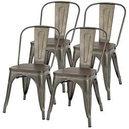 Furmax Metal Dining Chair with Wood Seat,Indoor-Outdoor Use