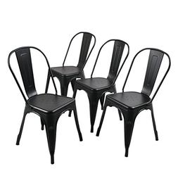 Andeworld Set of 4 Metal dining Chairs Bistro Cafe Side Chai