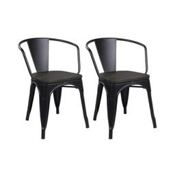 GIA Metal Dining Chairs with Back - Wooden Seat - Black - To
