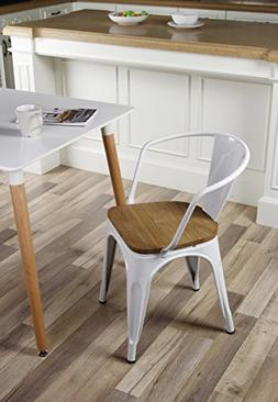 GIA Metal Dining Chairs with Back - Wooden Seat - White - To
