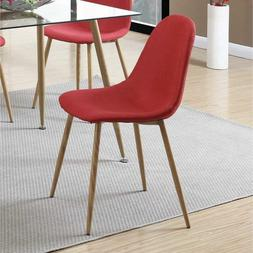 Poundex Metal Frame Dining Chair With Petal-Like Seats Red A