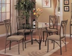 5 pc metal and glass dining room table set in a bronze metal