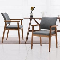 Set of 2 Mid Century Modern Dining Chairs Wood Arm Gray Fabr