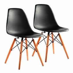 COSTWAY Set of 2 Mid Century Modern DSW Dining Side Chair Wo