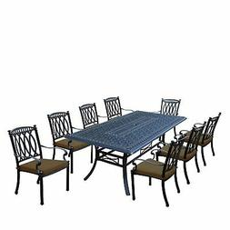 Milan 9 Piece Dining Set with Rectangular Table and 8 Stacka