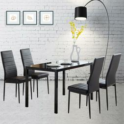 5 Pieces Dining Set Glass Metal Table and 4 Chair Kitchen Di