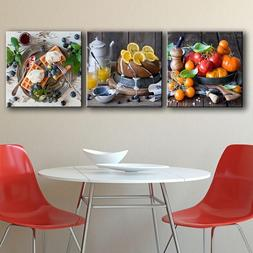 Modern Canvas Art Fruit Cake Foods Posters 3 Pieces/<font><b