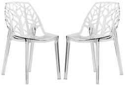 LeisureMod Modern Cornelia Dining Chair, Clear, Set of 2