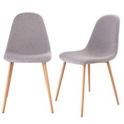 Giantex Dining Side Chairs Set of 2 Sturdy Metal Legs Wood L