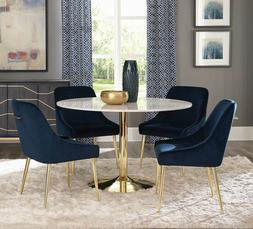 Modern Dining Room Kitchen 5 piece Round Marble Top Table &
