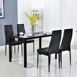 Bonnlo Modern 5 Pieces Dining Table Set Glass Top Dining Tab