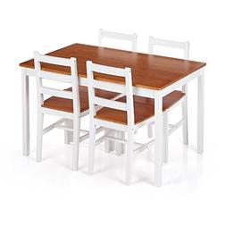 iKayaa Modern 5PCS Dining Table Set Pine Wood Kitchen Dinett