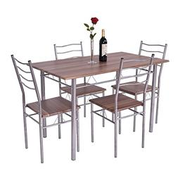 Giantex Modern 5 Piece Dining Table Set for 4 Chairs Wood Me