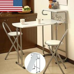 Modern Folding Couple 1 Table with 2 Chairs Set Safety Dinin