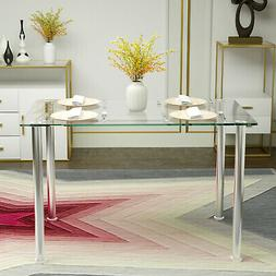Modern Rectangular Glass Top Metal Dining Table Kitchen Dini