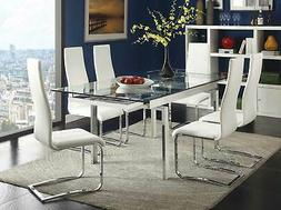 Modern Rectangular Glass Top Table & White Chairs - 7 piece