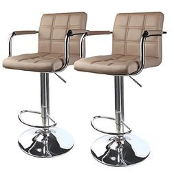 Leopard Modern Square Back Adjustable Bar Stools with armres