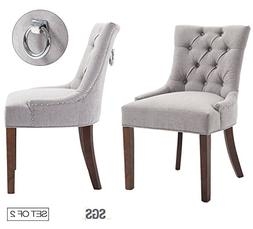 Set of 2 Modern Tufted Parsons Chair with Solid Wood Legs ZX
