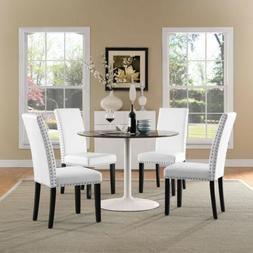 Modern Upholstered Faux Leather Nailhead Trim Parsons Dining