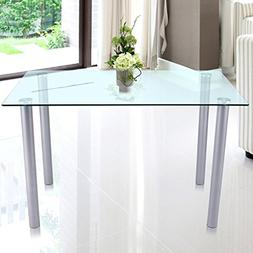 Fashine 47 Inch Modern White Rectangle Tempered Glass Dining