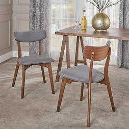 Molly Mid Century Modern Fabric Dining Chairs with Rubberwoo