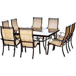 "Hanover Monaco 9 Piece Dining Set with 60"" Square Glass-top"