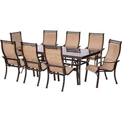 Hanover Monaco 9 Piece Dining Set with 8 Stationary Dining C