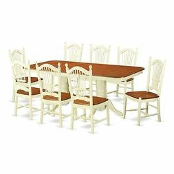 East West Furniture NADO9-WHI-W 9 Piece Small Kitchen Table