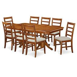 East West Furniture NAPF9-SBR-C 9 Piece Napoleon Dining Tabl