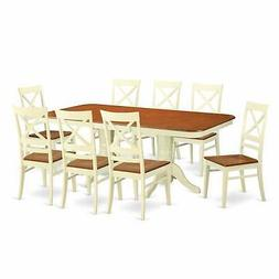 East West Furniture NAQU9-WHI-W 9 Piece Dinette Table and 8