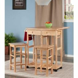 Natural Wooden Kitchen Breakfast Cart Set Dining Table Stool