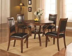 Coaster 102171 102172 Nelms 5 Pc Walnut Round Dining Table C