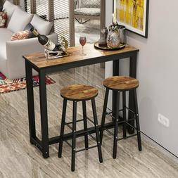 New 3 Piece Pub Dining Set Wooden Table Kitchen 2 Bar Stools