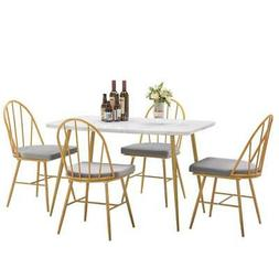 New 5 Piece Dining Table Set 4 dining chairs  Marble Dining