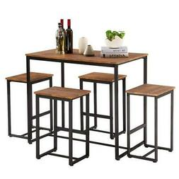 NEW 5 Piece Metal Dining Table Set W/ 4 Chairs Wood Dining R