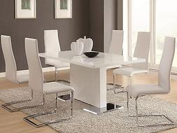 NEW 7 pieces Modern Glossy White Rectangular Dining Room Tab